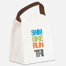 SWIM BIKE RUN TRI Canvas Lunch Bag
