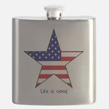 Patriotic Star~Life is Good Flask