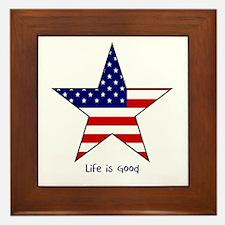Patriotic Star~Life is Good Framed Tile