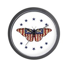 Patriotic Butterfly 2000x2000.png Wall Clock
