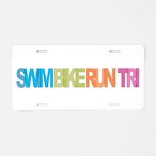 SWIM BIKE RUN TRI Aluminum License Plate