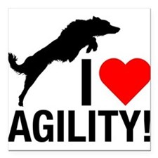 "I love Agility Border Collie Square Car Magnet 3"""