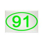 Number 91 Oval Rectangle Magnet (10 pack)