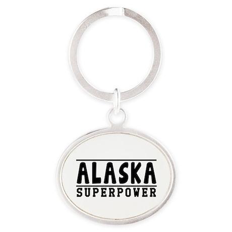 Alaska Superpower Designs Oval Keychain