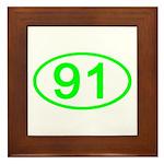 Number 91 Oval Framed Tile