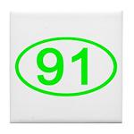 Number 91 Oval Tile Coaster