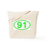 Number 91 Oval Tote Bag
