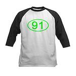 Number 91 Oval Kids Baseball Jersey