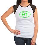 Number 91 Oval Women's Cap Sleeve T-Shirt