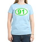 Number 91 Oval Women's Pink T-Shirt