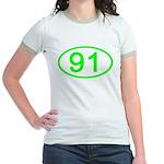 Number 91 Oval Jr. Ringer T-Shirt