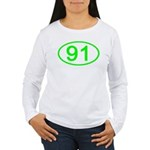 Number 91 Oval Women's Long Sleeve T-Shirt