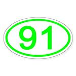 Number 91 Oval Oval Sticker