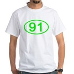 Number 91 Oval Premium White T-Shirt
