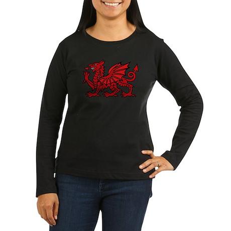 Red Welsh Dragon Women's Long Sleeve Dark T-Shirt