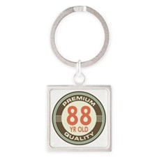 88th Birthday Vintage Square Keychain