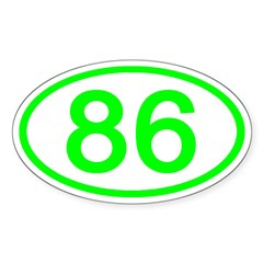 Number 86 Oval Oval Decal