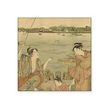 Vintage Japanese Fishing Woodblock Print Sticker