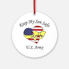 US Army Mom & Dad Keep My Son Safe Ornament (Round