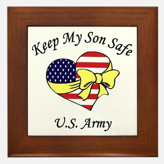 US Army Mom & Dad Keep My Son Safe Framed Tile