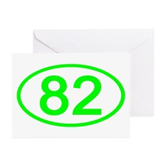 Number 82 Oval Greeting Cards (Pk of 10)