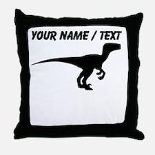 Custom Velociraptor Silhouette Throw Pillow