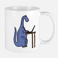 Dinosaur Using Laptop Mug