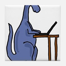 Dinosaur Using Laptop Tile Coaster
