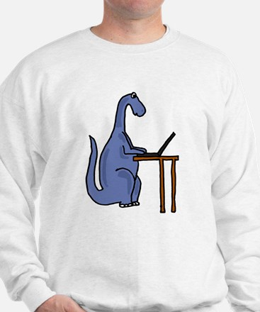 Dinosaur Using Laptop Sweatshirt