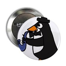 """Penguin Playing Saxophone 2.25"""" Button"""