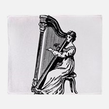 Woman Playing Harp Throw Blanket