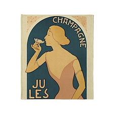 Vintage Champagne Art Throw Blanket