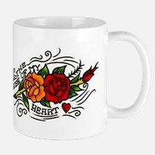 Vintage Rose Of My Heart Tattoo Art Mug