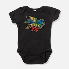 Tattoo Bird With Hearts On Arrow Baby Bodysuit