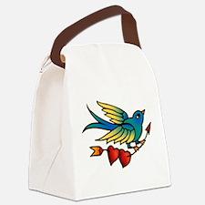 Tattoo Bird With Hearts On Arrow Canvas Lunch Bag