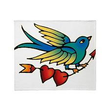 Tattoo Bird With Hearts On Arrow Throw Blanket