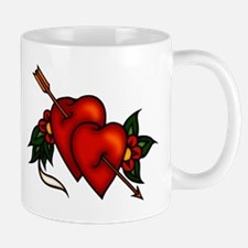 Retro Tattoo Arrow Hearts Mug