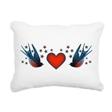 Retro Swallows And Stars Heart Rectangular Canvas