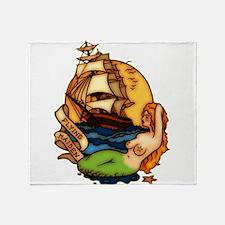Pirate Ship Mermaid Tattoo Art Throw Blanket