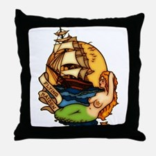 Pirate Ship Mermaid Tattoo Art Throw Pillow