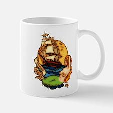 Pirate Ship Mermaid Tattoo Art Mug