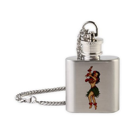 Retro Hula Tattoo Art Flask Necklace