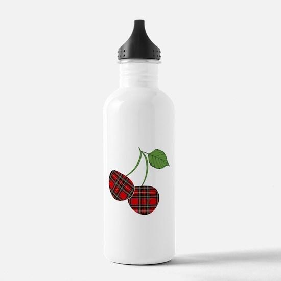Punk Plaid Cherry Water Bottle