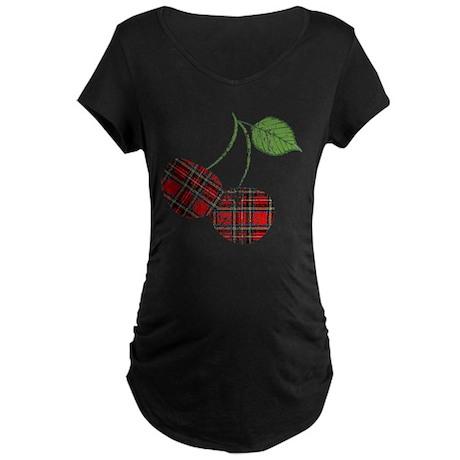 Worn Plaid Cherries Maternity Dark T-Shirt