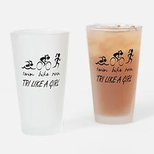 TRI LIKE A GIRL Drinking Glass