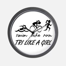 TRI LIKE A GIRL Wall Clock