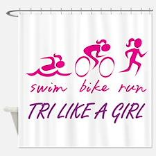 TRI LIKE A GIRL Shower Curtain