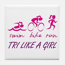 TRI LIKE A GIRL Tile Coaster