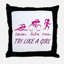 TRI LIKE A GIRL Throw Pillow