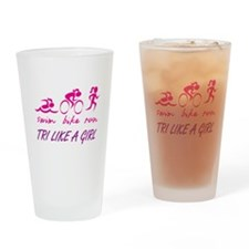 TRI LIKE A GIRL Drinking Glass
